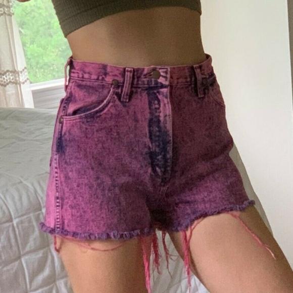 Wrangler Pants - Vintage High Waist Acid Wash Wrangler Jean Shorts